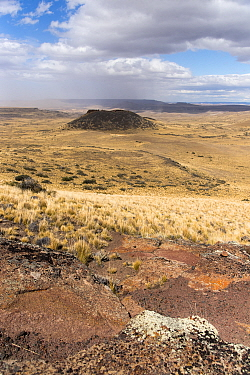 Extinct back-arc basalt volcano on the Patagonia steppes, Chubut Province, Argentina January 2017.