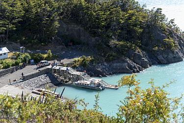 Boat dock at Candelario Mancilla, O'Higgens Lake, Patagonia, Chile. January 2017.