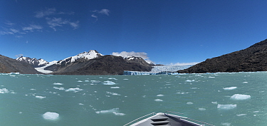 O'Higgen and Chico glaciers from a boat on O'Higgens Lake. Bernado O'Higgens National Park, Patagonia, Chile. January 2017.