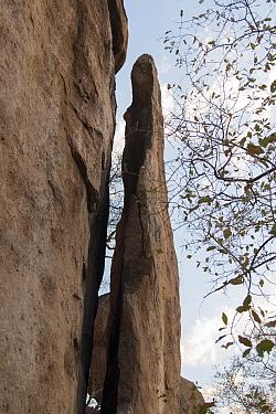 Erongo granite rock witha section splitting off, Erongo Mountain Conservancy, Namibia