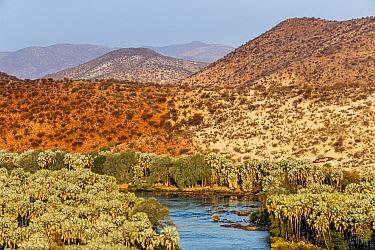 Kunene River, northern border of Namibia with Angola. Epupa Falls, Kaokoland, Kunene Province, Namibia
