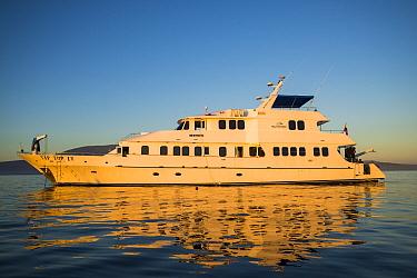 Tourist boat, Fernandina Island, Galapagos. July 2014.