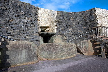 Newgrange, entrance to the Neolithic passage tomb dated to 3200 BC, World Heritage Site, County Meath, Ireland. October 2019.