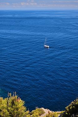 Pleasure yacht off Majorca coast, Balearic Islands. September 2019