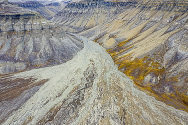 Aerial view of eroded mountain slopes and rich network of river channels. Skansdalen, Spitsbergen, Svalbard, Norway