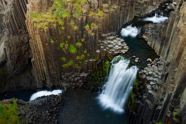 Litlanesfoss waterfall, Hengifoss� river, basalt lava solidified in hexagonal columns, Iceland, August 2008.