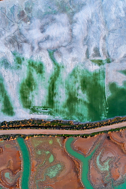 Coloured water leaking from photogypsum storage pond creates tidal channels in saltmarsh habitat. Huelva, Southern Spain. Phosphogypsum is a radioactive by-product in the manufacture of phosphoric aci...