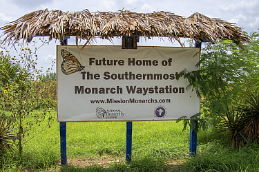 Sign at National Butterfly Center, the organisation is fighting in court to prevent a section of border wall severing the 100 acre nature preserve. The section behind this sign is in the proposed no-m...