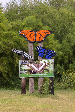 Information sign with painted butterflies at National Butterfly Center. The organisation is fighting in court to prevent construction of the USA-Mexico border wall through the 100 acre nature preserve...