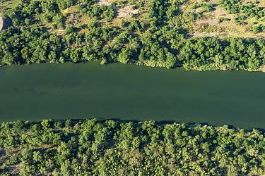 Aerial view of Rio Grande, the USA-Mexico border. Near Roma, Starr County, Texas, USA. July 2019.
