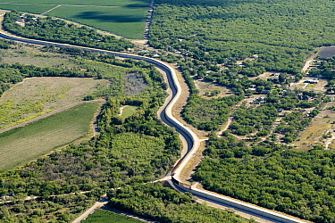 Aerial view of border wall in Mission, Hidalgo County, Texas, USA. July 2019.
