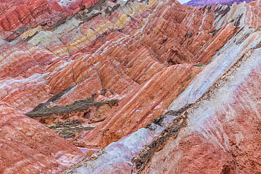 Rainbow Mountains, eroded hills with strata of sedimentary conglomerate and sandstone. Zhangye National Geopark, China Danxia UNESCO World Heritage Site, Gansu Province, China. 2018.