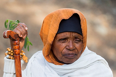 Pilgrim on way to Debre Libanos Monastery, portrait. Rift Valley, Ethiopia. 2017.