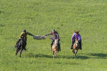 Three Mongols in traditional dress riding horses. Bashang Grassland, near Zhangjiakou, Hebei Province, Inner Mongolia, China. 2018.