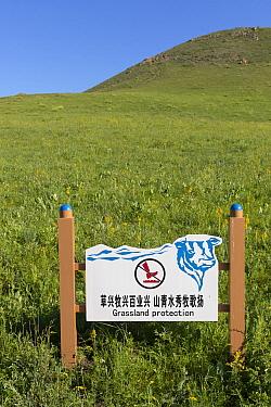 Information panel for the protection of grasslands. Bashang Grassland, near Zhangjiakou, Hebei Province, Inner Mongolia, China. July 2018.