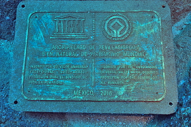 Plaque indicating that the Revillagigedo Islands are inscribed as UNESCO World Heritage site, Socorro Island, Revillagigedo islands, Mexico. Pacific Ocean.