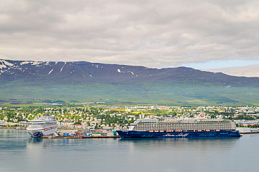 Cruise ships in Akureyri Harbour. North Iceland
