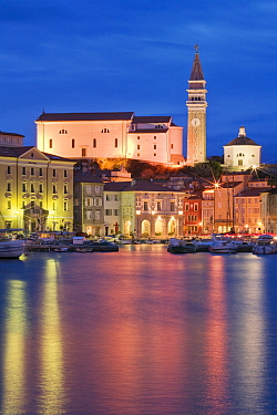 The waterfront of Piran illuminated at dusk, Slovenia, March 2008