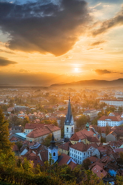 View over Ljubljana from Castle Hill at sunset, Slovenia, October 2014.
