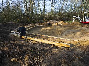 Preparatory work for construction of educational dipping pond, Blashford Lakes Nature Reserve. Hampshire and Isle of Wight Wildlife Trust Reserve, Ellingham near Ringwood, Hampshire, England, UK, Febr...