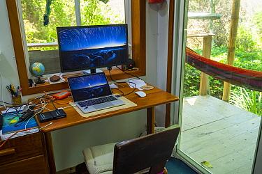 Photographer Tui De Roy's office space, during the Covid-19 lockdown. Santa Cruz Island, Galapagos Islands April 2020