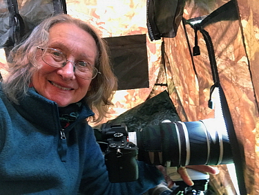 Photographer Marie Read in hide, May 2020.