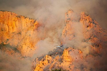 Lightning started fire on steep craggy terrain, with US Forest Service Fire suppression Wildland Firefighters using helicopters to 'bomb' the hot spots to control the spread. Pusch Ridge, Sant...