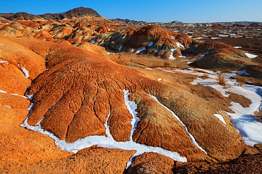 Danxia eroded desert clay layers, shaped by wind, rain and snow, Kalamaili National Nature Reserve, Xinjiang, China