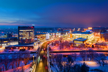 Aerial view of a morning rush hour in Tartu town in winter, Estonia. January 2019.