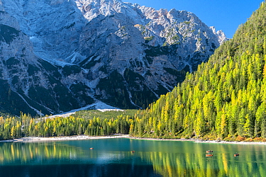 Rowboats on Lago di Braies, Dolomites, Italy, October 2019.