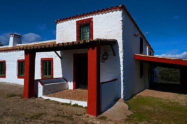 Ancient farmhouse, now used for tourism and hunting, Parque Natural Sierra de Andujar, Andalucia, Spain. January 2020.