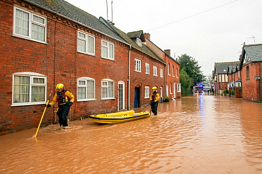 Fire and Rescue Service checking people trapped in their homes, Church Lane, Tenbury Wells, Storm Dennis, 16 February 2020.