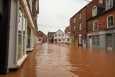 Flooded Cross Street and Teme Street, Tenbury Wells, Storm Dennis, Worcestershire, 16 February 2020.