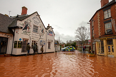Flooded Teme Street, Tenbury Wells with Police response vehicle, Storm Dennis, Worcestershire, 16 February 2020.