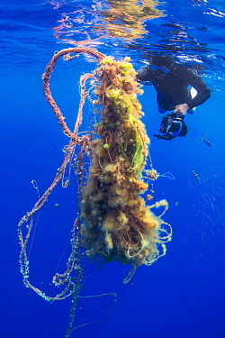 Diver with floating mass of plastic pollution, Canary Islands, May.