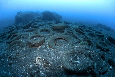 Marine pollution - discarded vehicle tyres in the sea, Canary Islands. Atlantic Ocean.