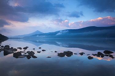 Schiehallion reflected in Loch Rannoch at dawn, Perthshire, Scotland, UK May 2017.