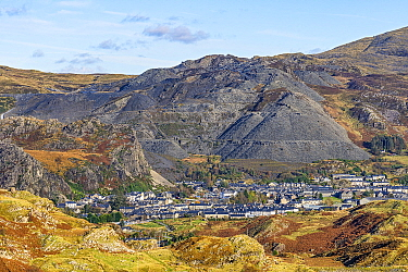 Blaenau Festiniog with spoil heaps from the disused slate mines behind North Wales UK October 2019.