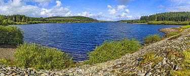 Alwen Reservoir looking north west from near the dam on the Denbigh Moors (Mynyth Hiraethog) Conwy County, North Wales, UK, September 2019.