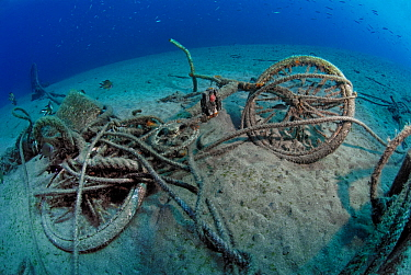 Remains of a bicycle at the bottom of the sea, with marine life colonising it, Lanzarote, Canary Islands.