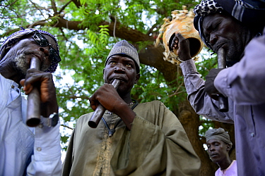 Men from Hadjarai ethnic group playing musical instruments, Guera Mountains. South Chad. September 2019.
