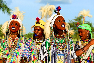 Men from Wodaabe nomadic tribe celebrating Gerewol, a gathering of different clans in which women choose a husband. Men dress in best clothes and ornaments to sing and dance in front of the young wome...