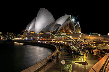 Sydney Opera House at night. Sydney, New South Wales, Australia. August 2018.