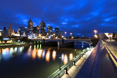 Melbourne cityscape at dawn, view of Yarra River and Princes Bridge, Melbourne city and Southbank. Victoria, Australia. May 2016.