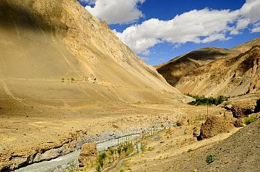 Shila Valley with river flanked by mountains. Zanskar, Ladakh, India. September 2011.