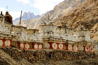 Buddhist chortens in mountains. Zanskar, Ladakh, India. September 2011.