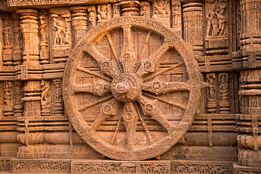 Sundial and carved stone, Konarak Sun Temple, Odisha, India. 2019.