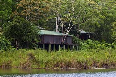 Las Guacamayas Biological Station on bank of San Pedro River. Laguna del Tigre National Park, El Peten, Guatemala. 2018.
