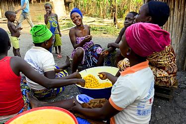Holi tribeswomen cooking fried corn balls, children eating them in background. Benin. 2020.
