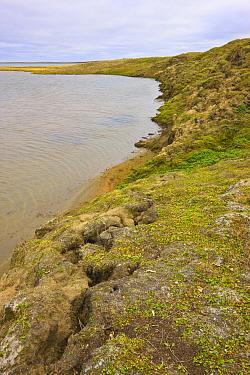 Slumping hillside due to thawing permafrost, Amguema River Estuary, Chukchi Sea, Chukotka, Siberia, Russia.